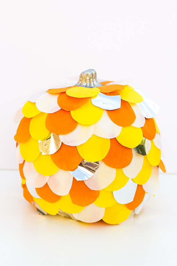 Scalloped Tissue Paper Pumpkin | Sarah Hearts
