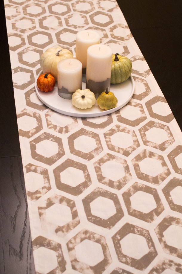 DIY Sponge Stamped Fall Table Runner | Sarah Hearts