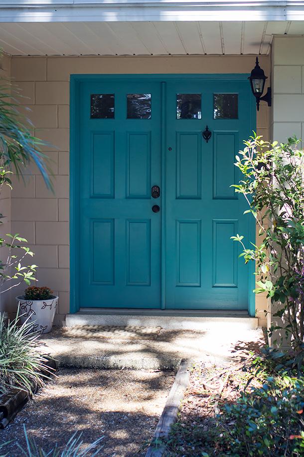 Teal painted front door sarah hearts for Teal front door
