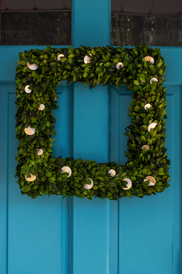 Gold Leaf Square Boxwood Wreath