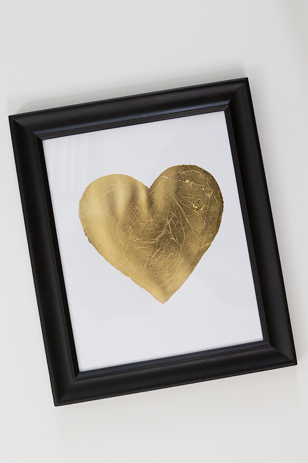 DIY Gold Leaf Heart Art