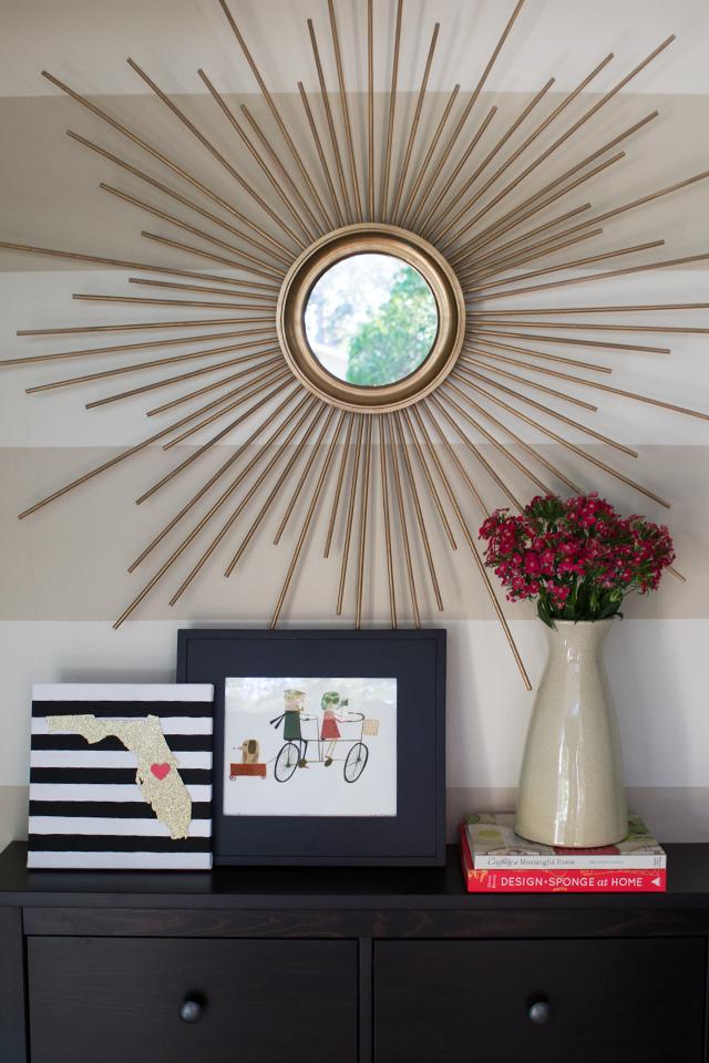 DIY Mid Century Modern Gold Sunburst Mirror