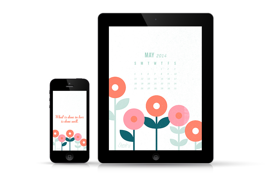 Dress up your phone, tablet and computer for spring with this inspiring free wallpaper! Available with this quote, a calendar, and just a floral design.
