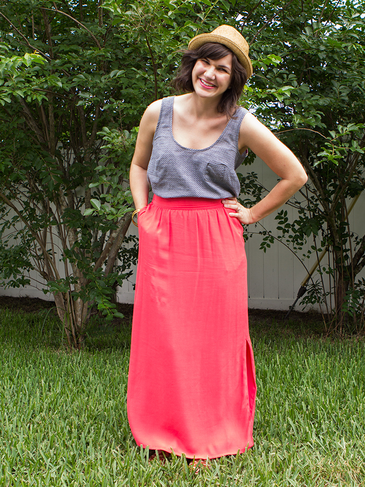 A chambray tank is the perfect summer item. Sew one up using this beginners pattern.