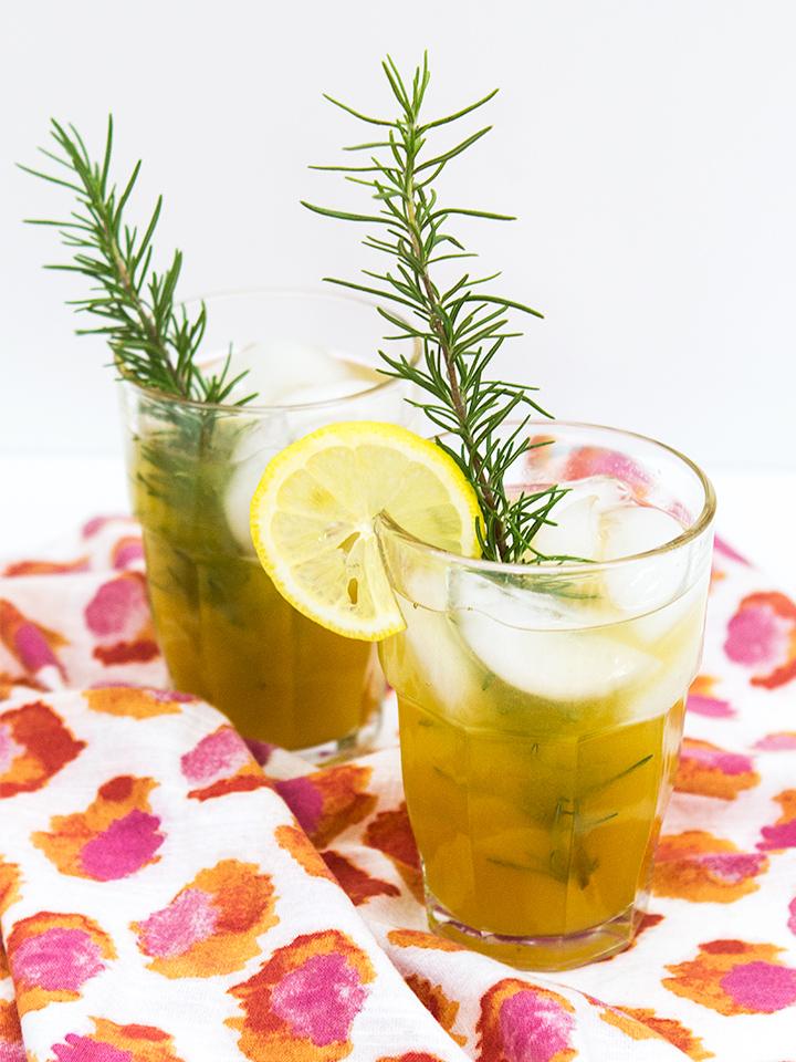 ... twist on a summer classic—rosemary infused peach lemonade