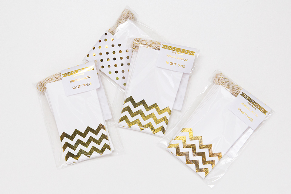 Gold foil chevron tags by Jenny Bevlin are perfect for any occasion.