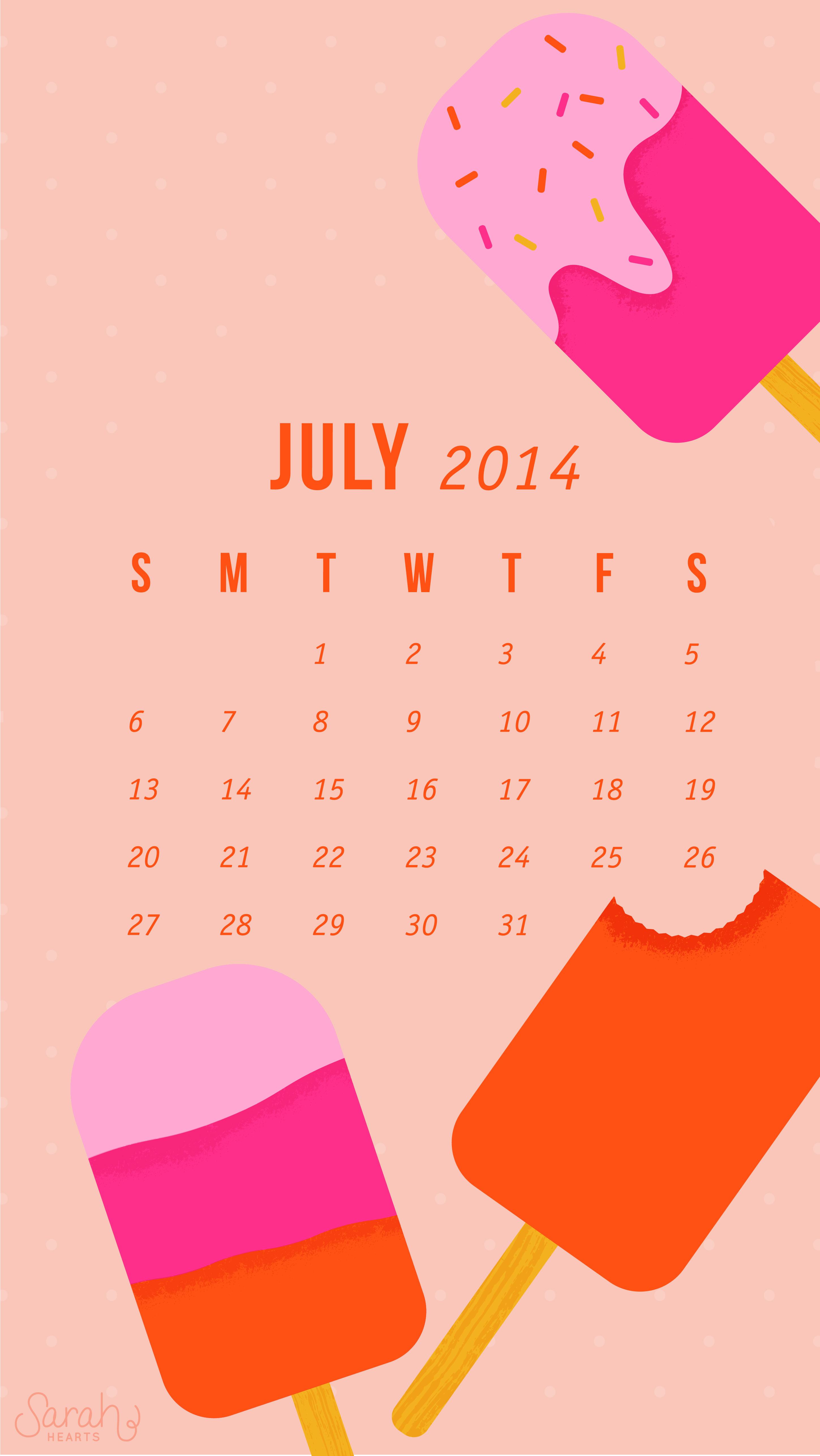 July 2014 Calendar Wallpaper