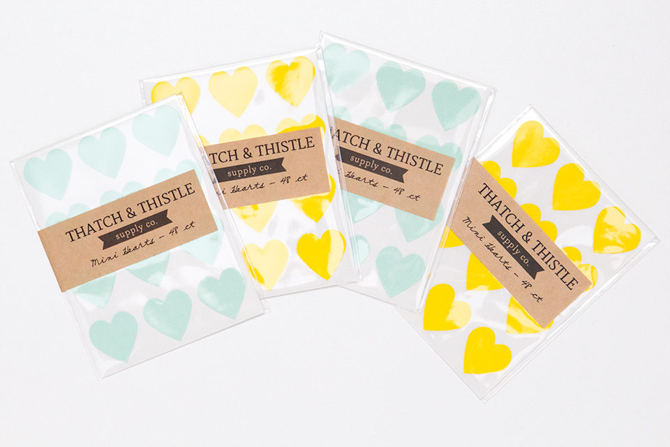 These mini heart stickers by Thatch & Thistle Supply Co. are perfect for decorating stationery and wedding favors.