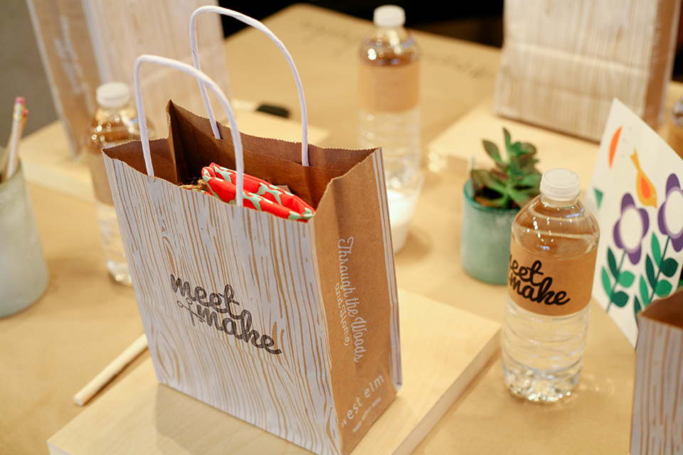 Every event has a good swag bag! Meet + Make is an evening of crafting and making at West Elm Orlando and is hosted by Sarah Hearts.
