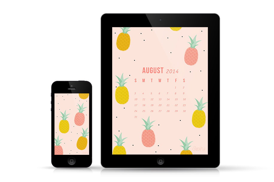 Calendar Wallpaper Ipad : August pineapple calendar wallpaper sarah hearts