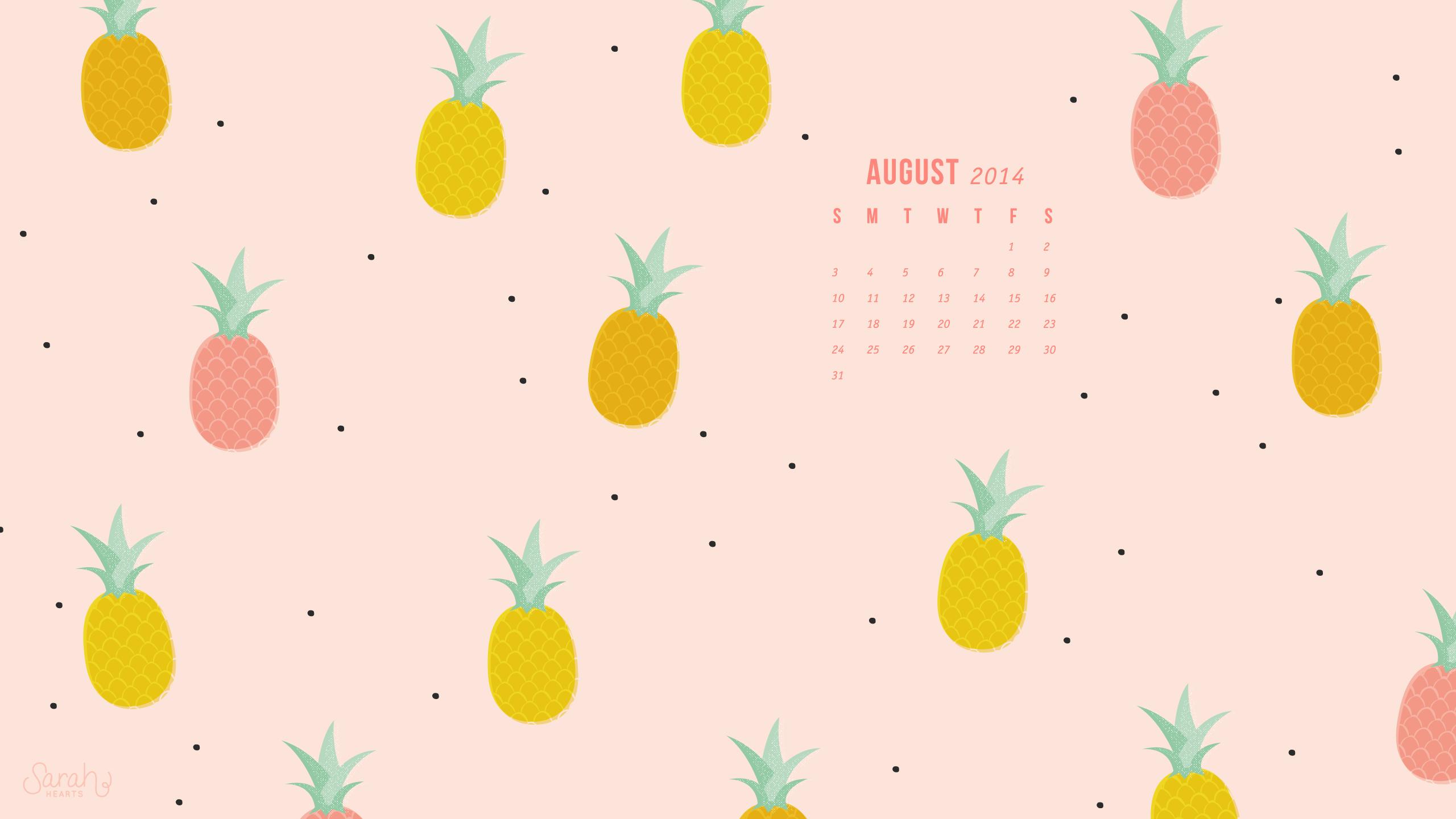 August 2014 Pineapple Calendar Wallpaper