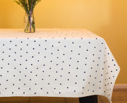 DIY Polka Dot Stamped Tablecloth