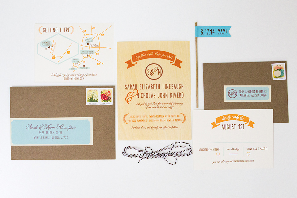 A simple, rustic wedding invitation suite. Perfect for a barn or outdoor wedding celebration.