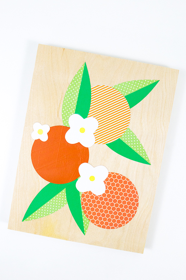 Create your own modern orange blossom collage on a wood panel. Click through for video tutorial and templates.