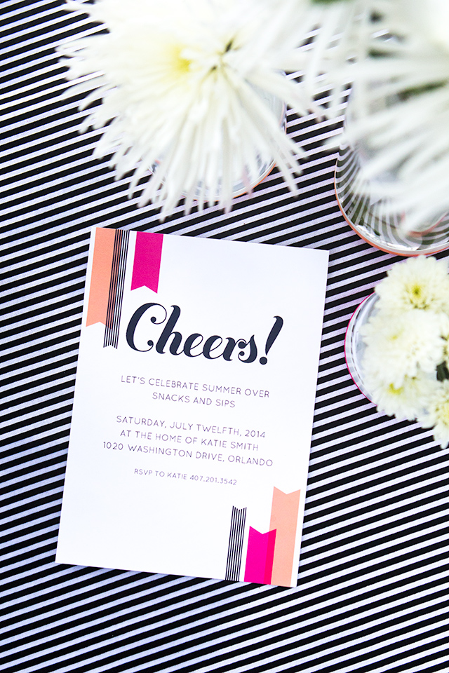 "Host a fun summer party and use these free printable ""Cheers!"" invitations. Template available in Word, Pages, and PDF formats."