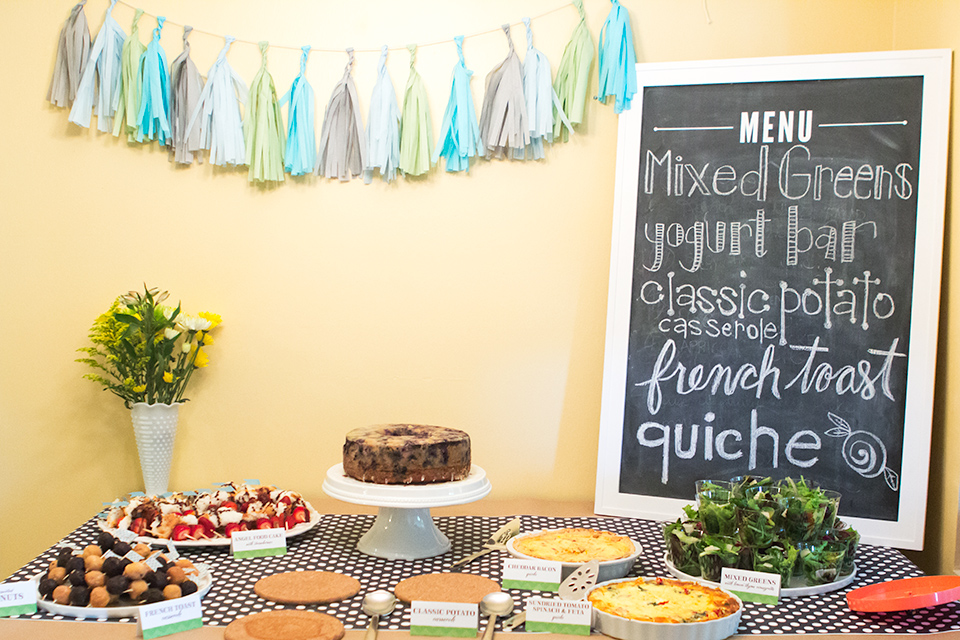 A Sweet And Simple Baby Shower Brunch Buffet Love The Big Chalkboard Menu  And Tassel