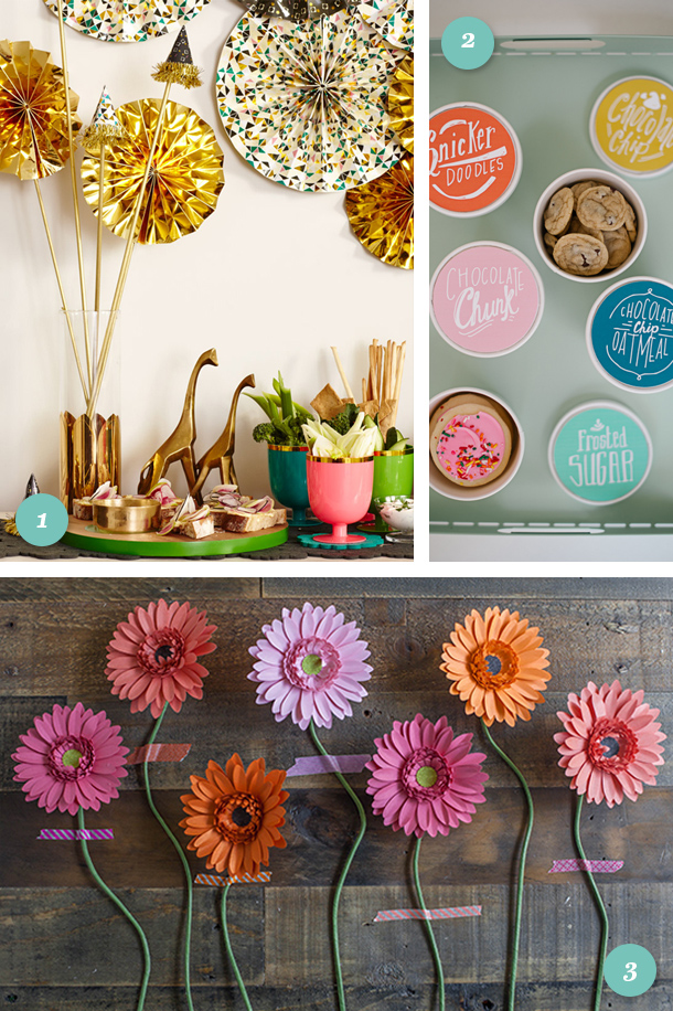 Links to love: perfect decor for your next party! Featuring the Oh Joy! fall collection, printable cookie container labels and DIY paper daises.