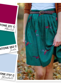 Get ready for fall with this cozy color palette! Traditionally dark colors like merlot and deep jade become more approachable with a little bluebell in the mix!