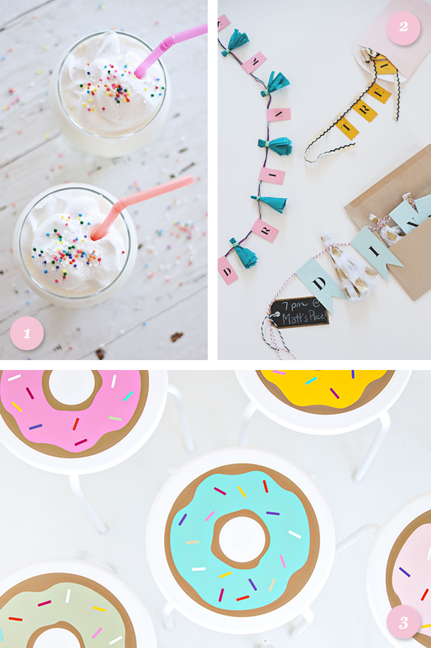 This post has all the perfect links for hosting such a cute sweets themed party! Loving the DIY donut barstools!