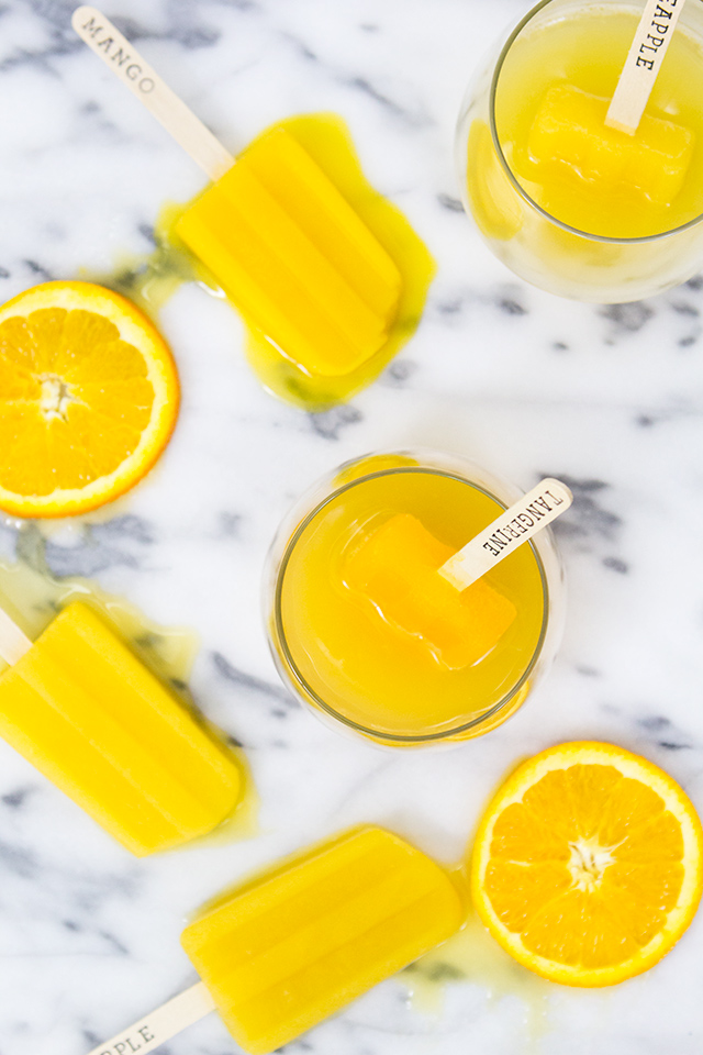 Love the idea of using assorted fresh juices to make popsicle mimosas and bellinis.