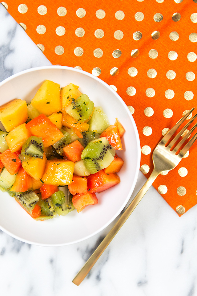 Can't wait to try this refreshing fruit salad with fresh mint and citrus dressing. The dressing would also be great on other fruit too.