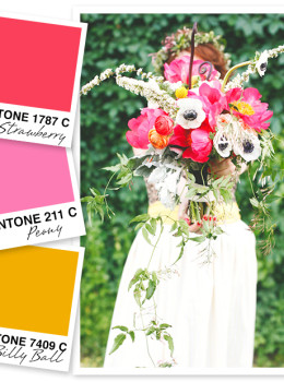 This color palette of strawberry red, peony pink and billy ball yellow is my fave! I think it would be perfect for a party, a spring wedding, or even a little girls nursery.