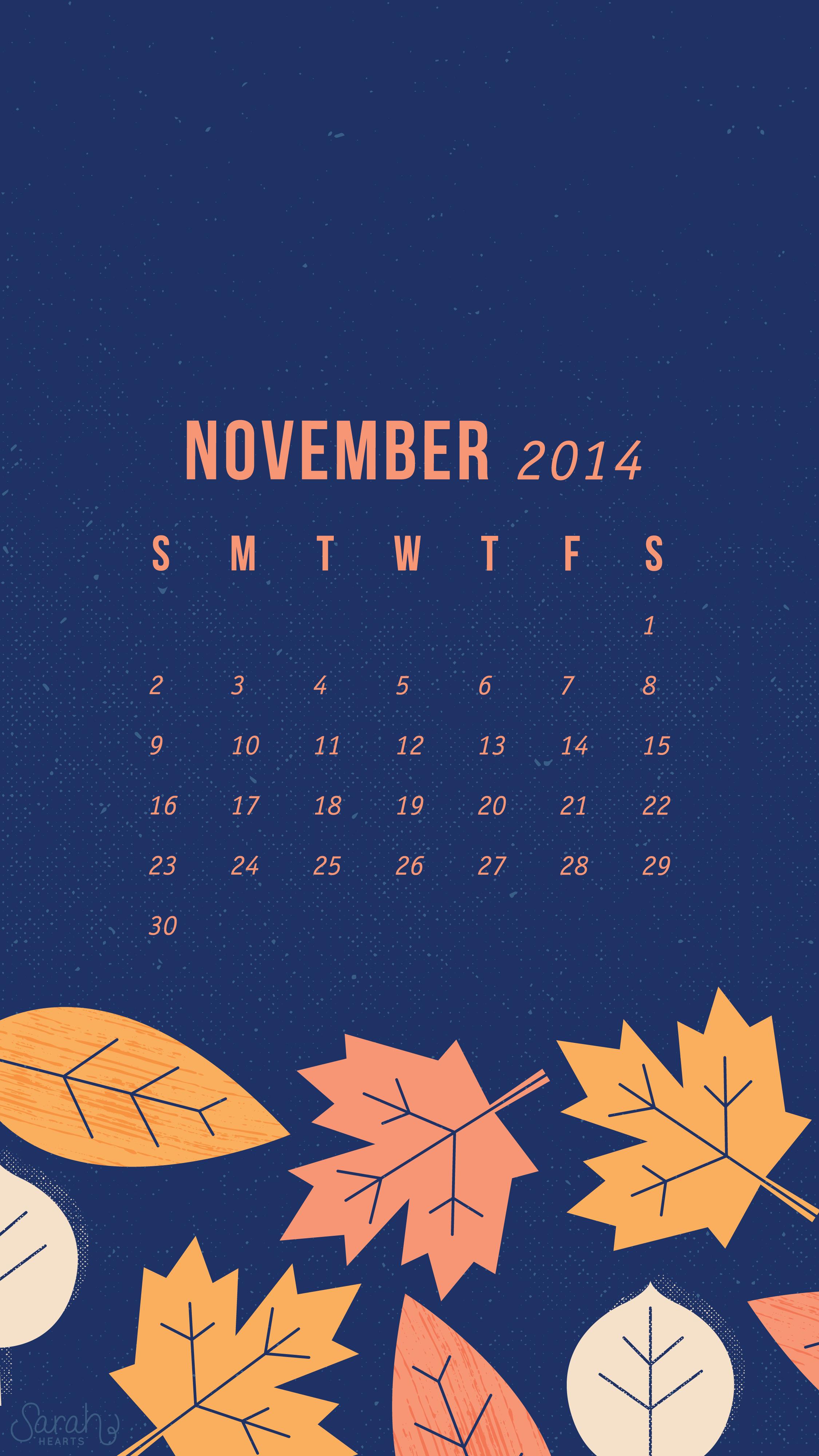 Calendar Iphone Wallpaper : November calendar wallpapers sarah hearts