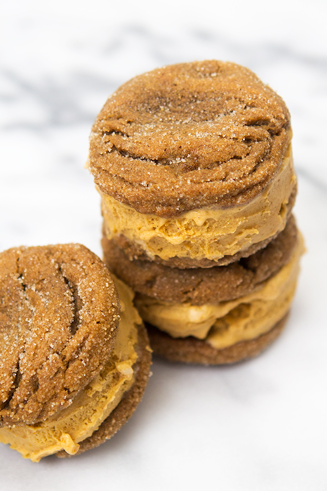 These pumpkin ice cream sandwiches are made with homemade ginger snap ...