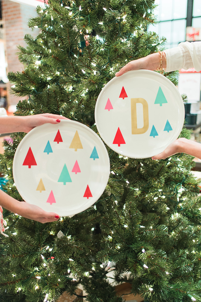 Love these adorable porcelain serving plates! They were created using stencils made with a Silhouette Cameo and glass paint.