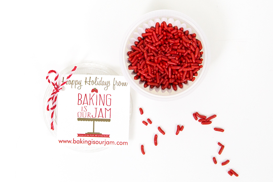 Love red jimmies for holiday baking! Baking is Our Jam sells all kinds of festive  baking supplies.