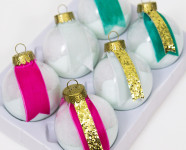 DIY Mystery Supply Challenge: Paint Dipped Ribbon Ornaments