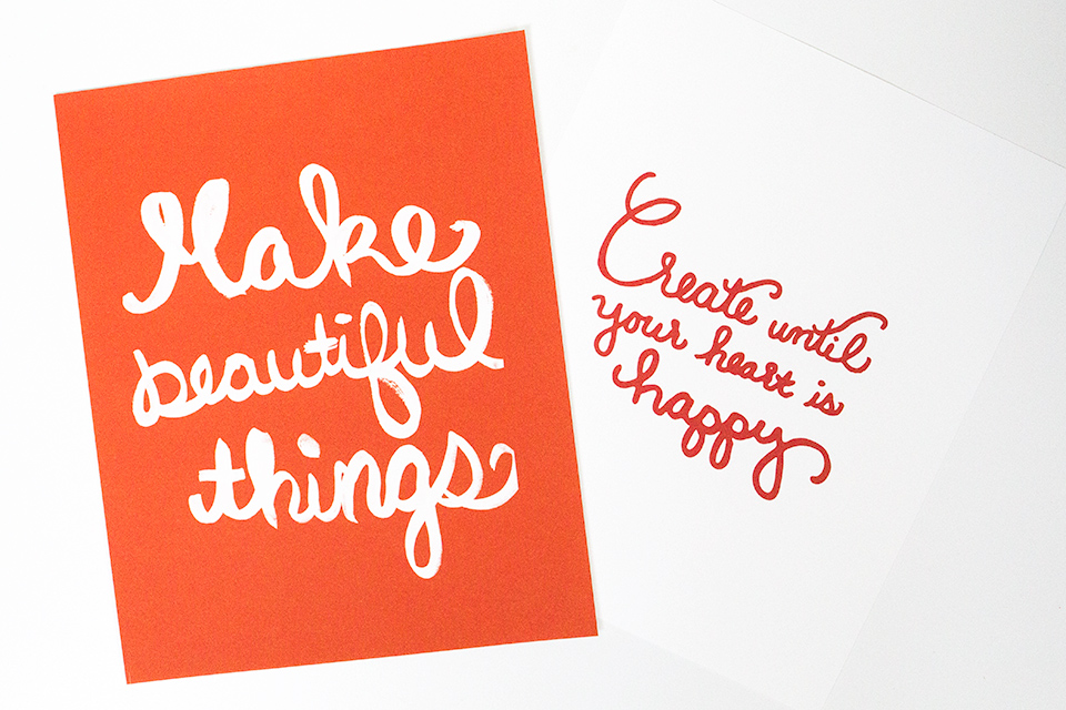 Make Beautiful Things and Create Until Your Hearts is Happy—such inspiring and lovely art prints by Studio 404 Design.