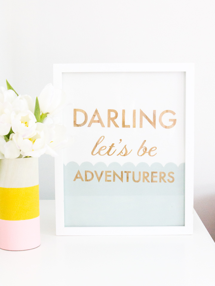Darling Let's Be Adventurers. This adorable wood cut art piece is a limited edition handmade piece by Sarah Hearts. Click through to order one today.