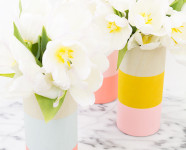 DIY Color Blocked Wood Vases