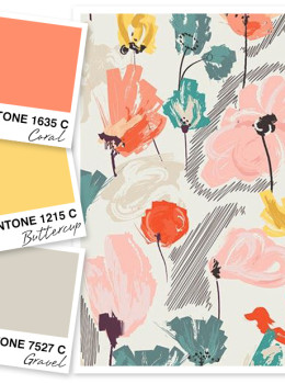 Loving this coral, buttercup yellow and gravel gray color palette.