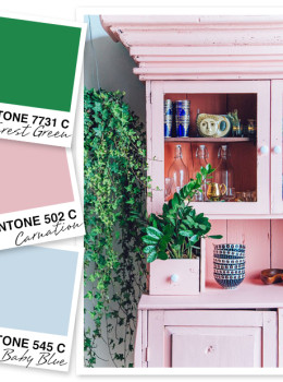 Bright green gets toned down by pale blue in pink in this gorgeous color palette.