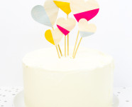 DIY Color Blocked Wood Heart Cake Toppers