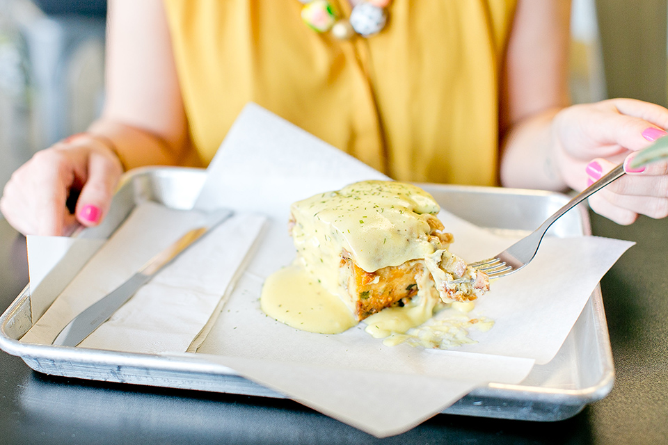 Savory breakfast bread pudding covered in house made hollandaise sauce. To die for!