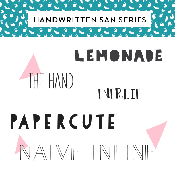 Add some creative flair to your design with one of these awesome handwritten san serif fonts. (Click through for links to download each font)