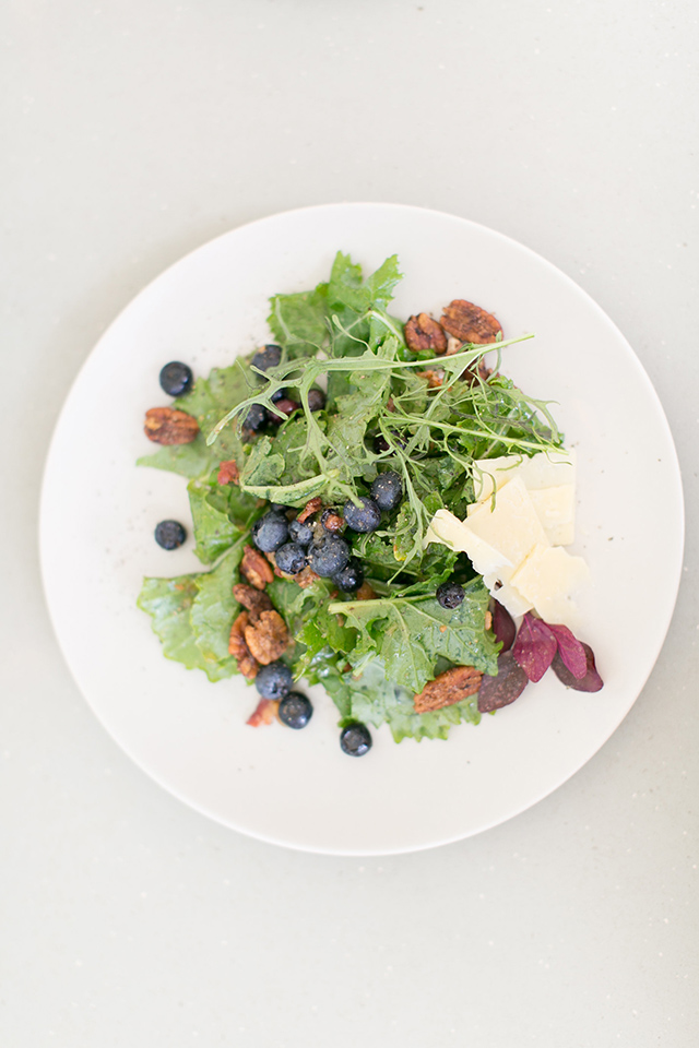 This salad is topped with blueberries and candied pecans and dressed with a bacon vinaigrette. Definitely stop in at The Strand next time you visit Orlando.