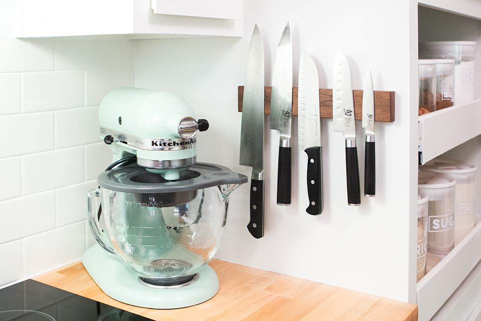 Extend the life of your kitchen knives by storing them on a wood knife magnet. It's prevents them from getting dull and looks nice!