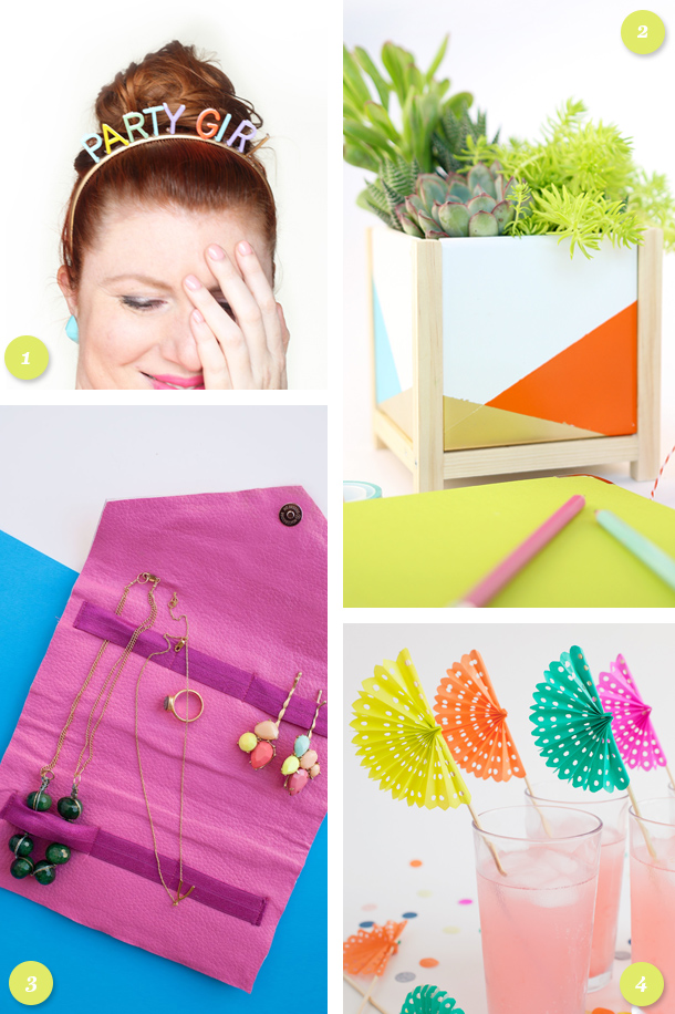 Add some bright color to your home or party with these fun DIY projects. (click through for links to each tutorial)