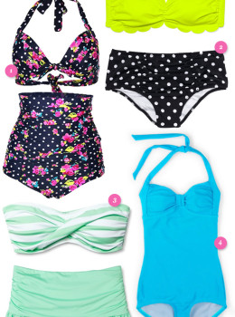Looking for a fun retro inspired swimsuit that is also flattering? Check out these affordable vintage inspired styles.