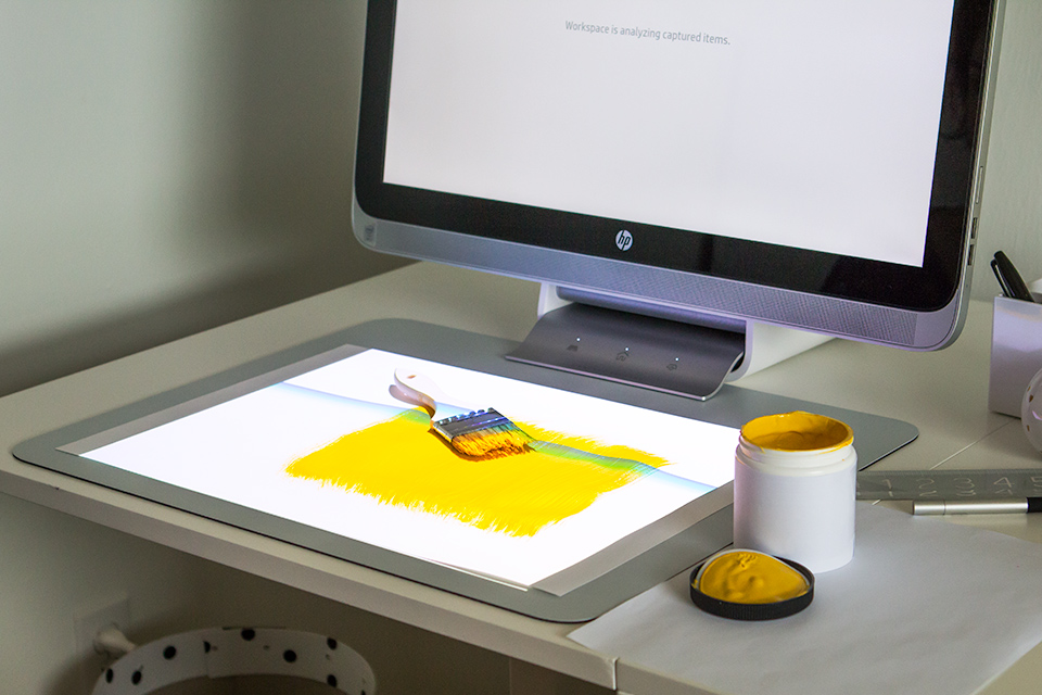 The Sprout has an over-head scanner that can capture images of 3D objects in just a matter of seconds!