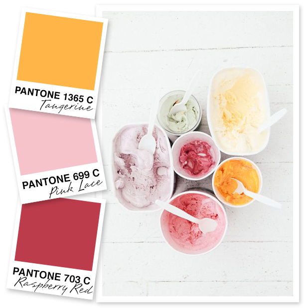As we begin nearing the end of the summer season this sweet palette makes the transition a piece of cake. The vivid tangerine is bright enough for summer while the warmer shade of raspberry red is just right for fall.