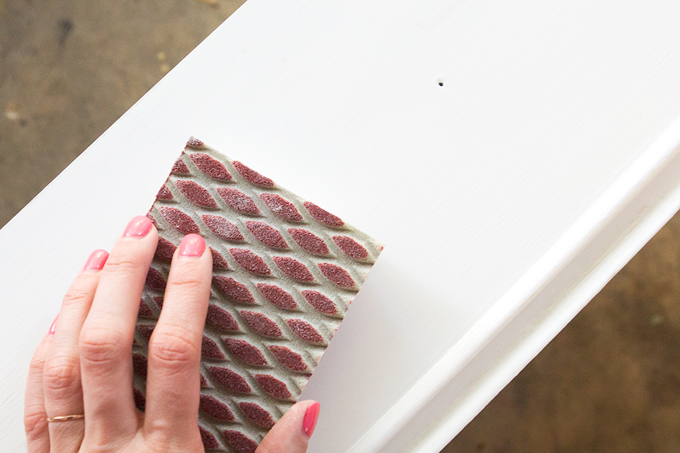 New to chalk paint? Be sure to sand after each coat with 120 grit sand paper to create a smooth surface.