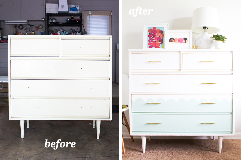 See how this Craigslist find was transformed into a stylish and whimsical mid century modern tallboy dresser.