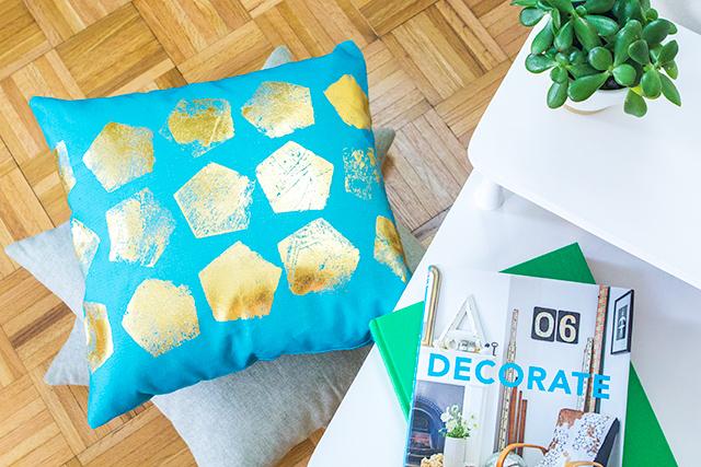 DIY Gold Foil Geometric Print Pillow - Sarah Hearts