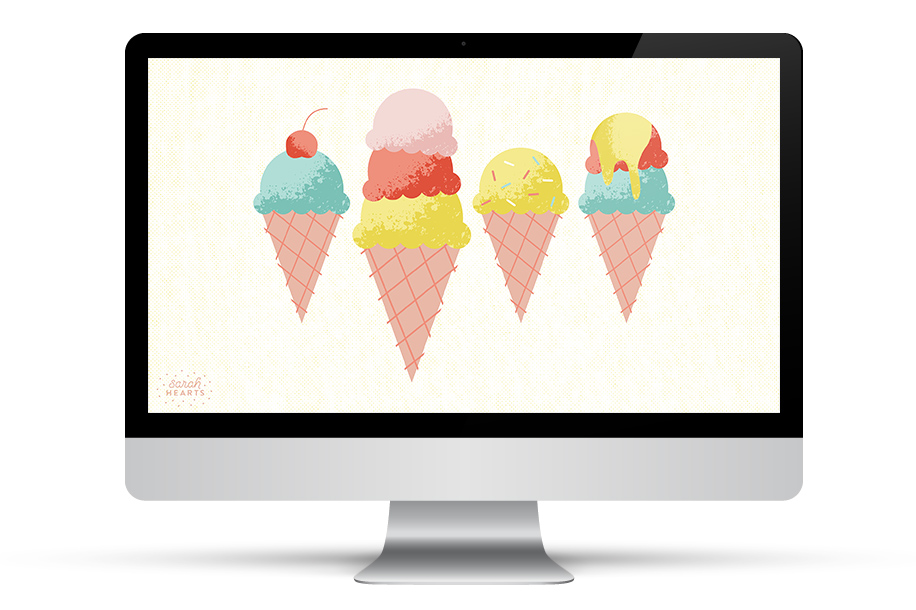 These adorable ice cream cones look good enough to eat! Click through to download this free wallpaper for your phone, tablet, and computer.