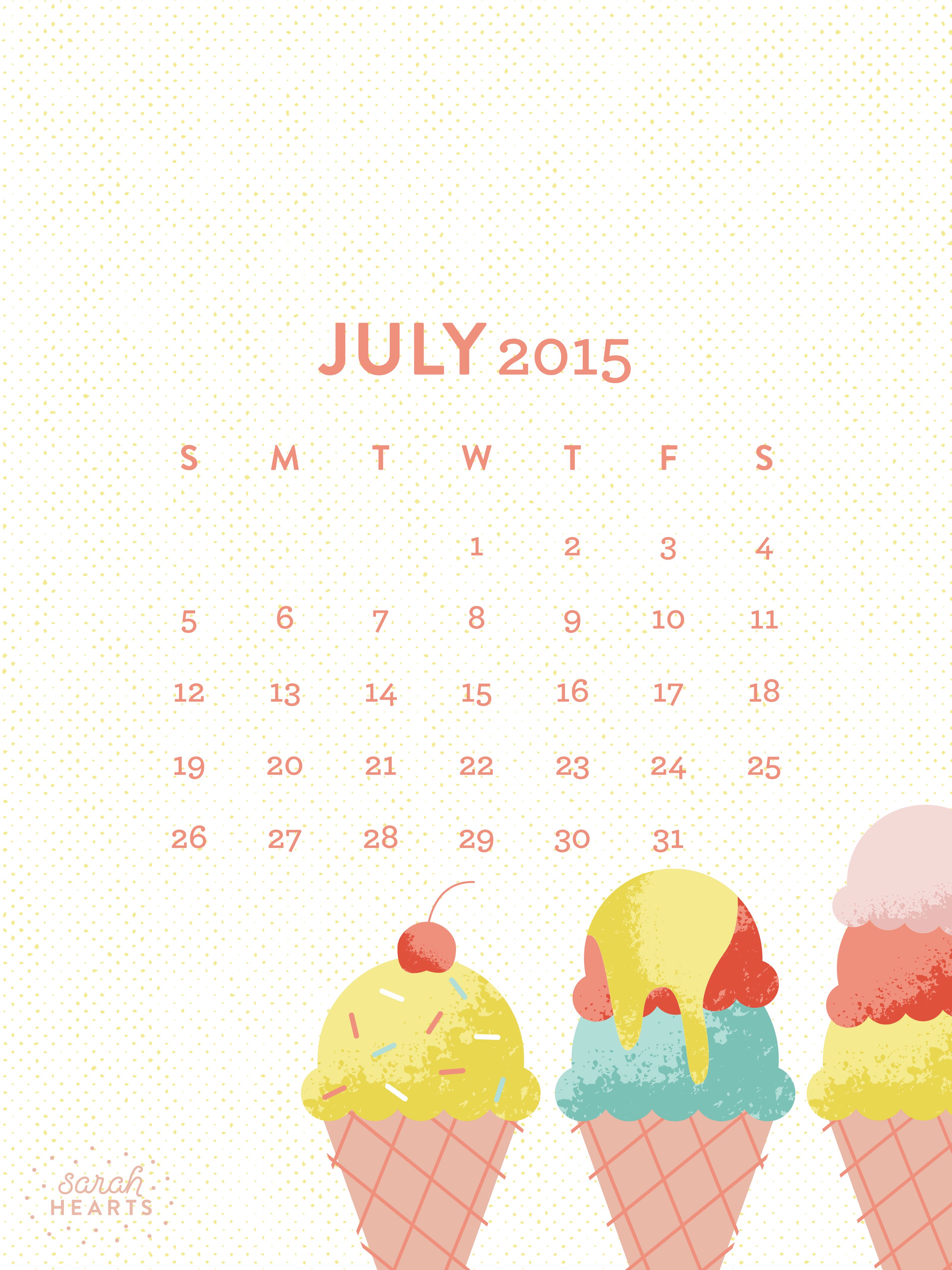 Calendar Wallpaper Ipad : July calendar wallpaper sarah hearts